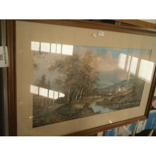 302 - John Corcoran framed print of Pendle hill...