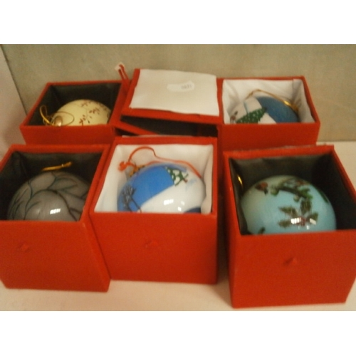 323 - Five hand painted glass baubles...