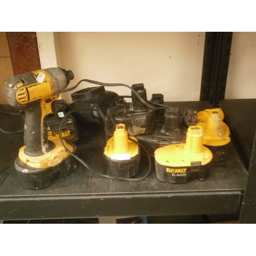 33 - Dewalt drill with batteries and chargers, as found...