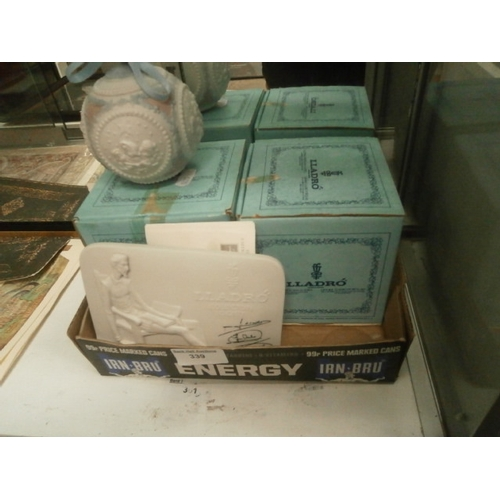 339 - Lot inc two boxed LLadro porcelain baubles and LLadro collection society signed plaque...