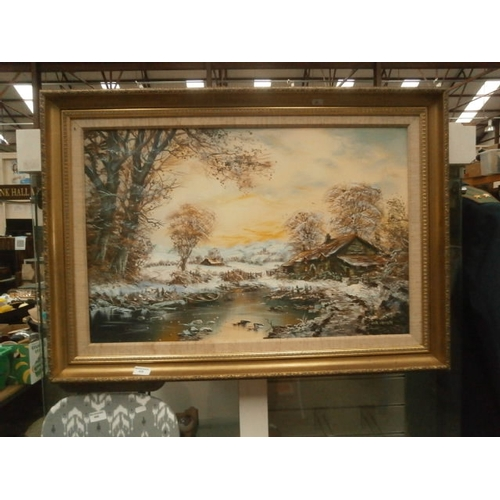 439 - Decorative oil painting on canvas by John Corcoran...