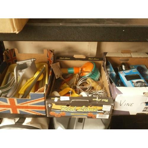 59 - Three boxes inc car accessories, kitchen utensils, tools, etc...