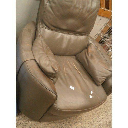621 - Large faux leather swivel club chair...
