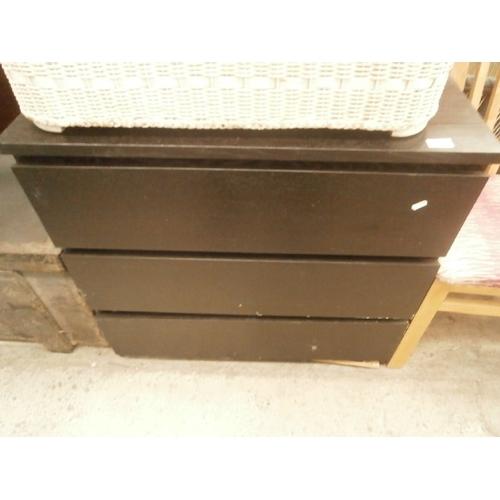 651 - Modern black 3 drawer chest...
