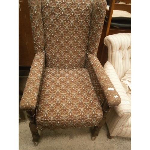 665 - Vintage wood framed wing back chair...