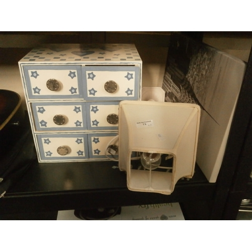 73 - Lot inc small six drawer storage box with decorative table lamp...
