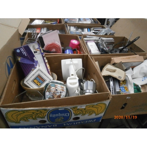 140 - Four boxes inc table fan, vase, plastic food storage tubs, cutlery, etc...