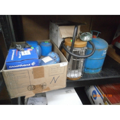 20 - Lot inc camping gas canisters, camping heater, etc...