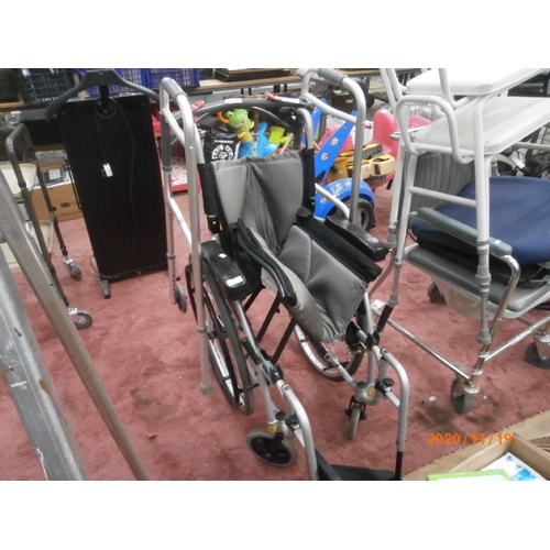 211 - Folding wheelchair and walking frame...