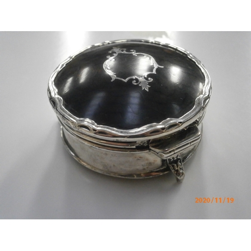 244 - Hallmarked silver trinket box with tortoise shell lid, Hinge is broken...