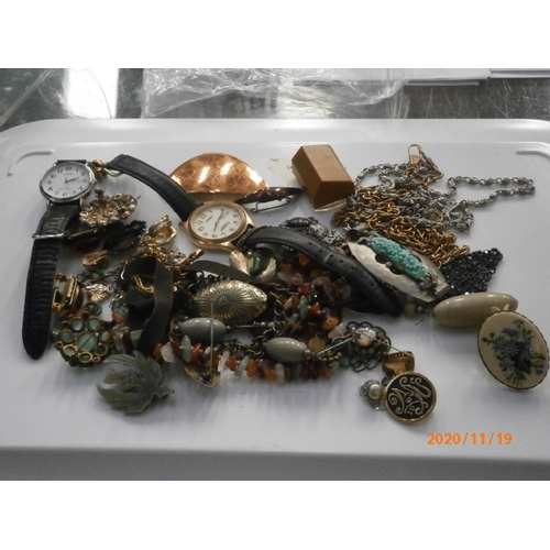 246 - Collection of costume jewellery items, watches, fob chains...