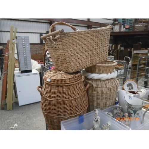 273 - Four various wicker baskets...