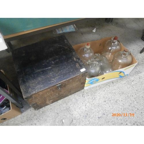 277 - Lot inc vintage wooden storage box and five Demi Johns...