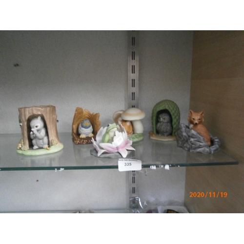 335 - Six woodland surprises ornamental animal figurines...