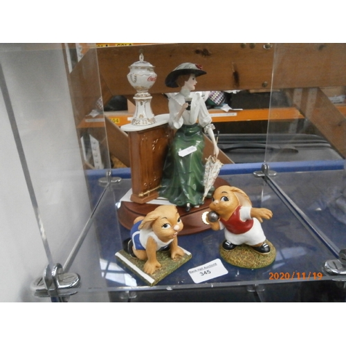 345 - Lot inc Emily Coca-Cola brand Lady Heirloom figurine and two Pen Delfin figurines...