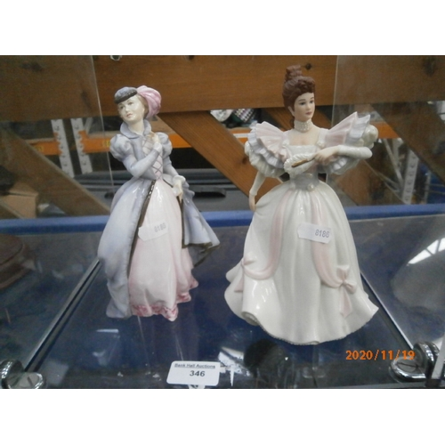 346 - Royal Doulton and Lenox lady figurines...