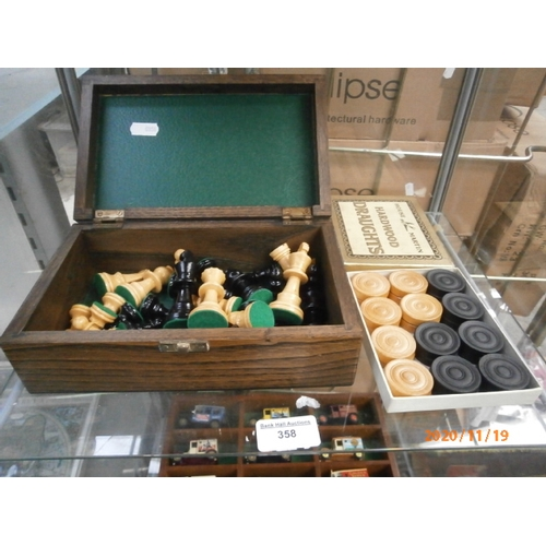 358 - Lot inc old chess set in oak box and hardwood draughts set...