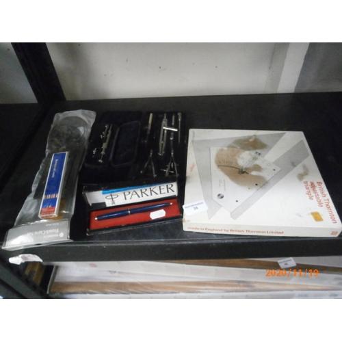 38 - Lot inc Parker pen, compass sets, etc...