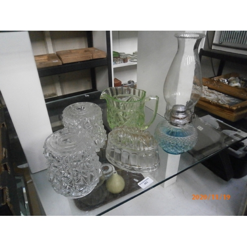 403 - Lot inc glass paraffin lamp, jelly mould, jug and lampshades...