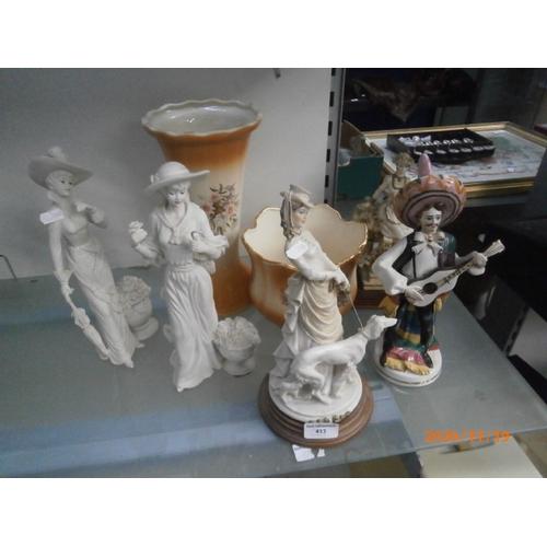 413 - Lot inc ornamental figurines, vase and matching plant pot...