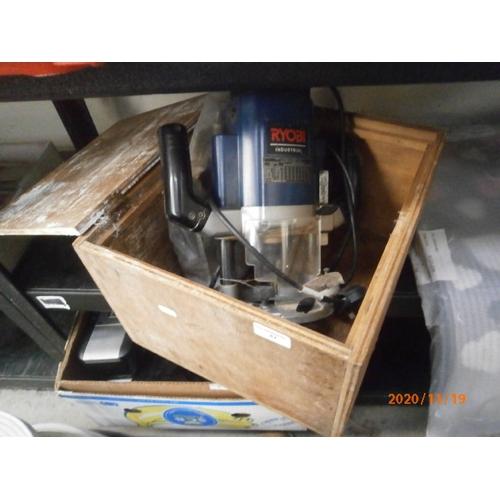 47 - Ryobi router in wooden storage box working order...