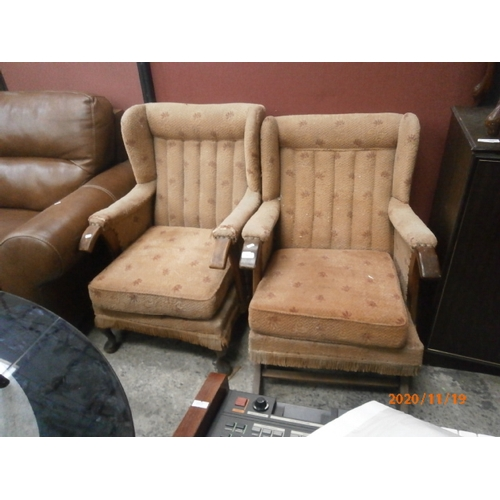 623 - Vintage wingback fireside chair and a matching rocking chair...
