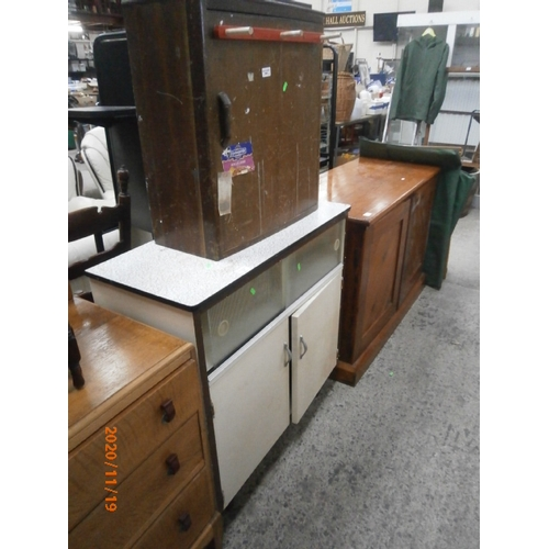 634 - Retro kitchen base unit and a wall cupboard with hand tools inside...