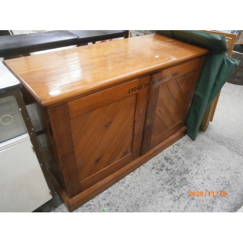 635 - Solid pine double base cupboard stenciled with