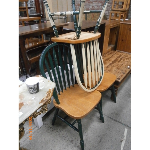 676 - Set of 3 x painted spindle back chairs...