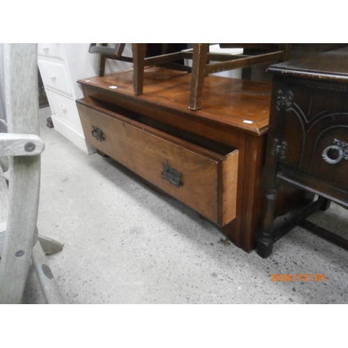 689 - Large mahogany base drawer - possible TV stand...