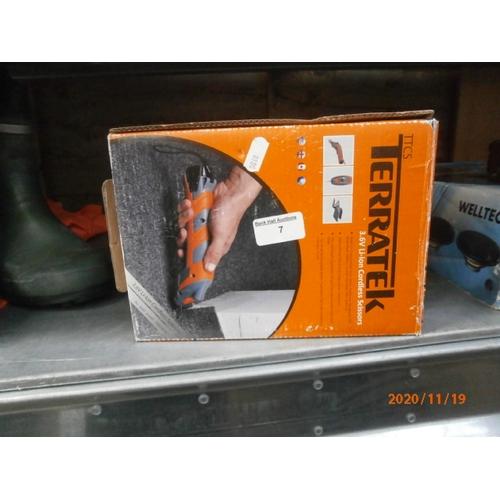 7 - Boxed Terratek cordless scissors...