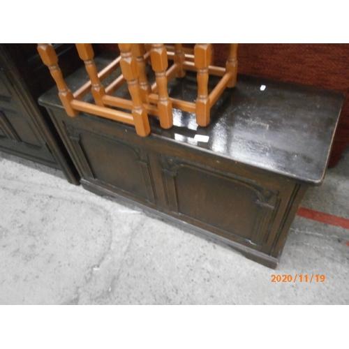 706 - Vintage wooden lift top storage box...