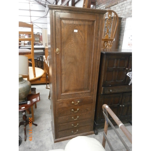 712 - Vintage oak unit with shelved cupboard over 4 drawer base...