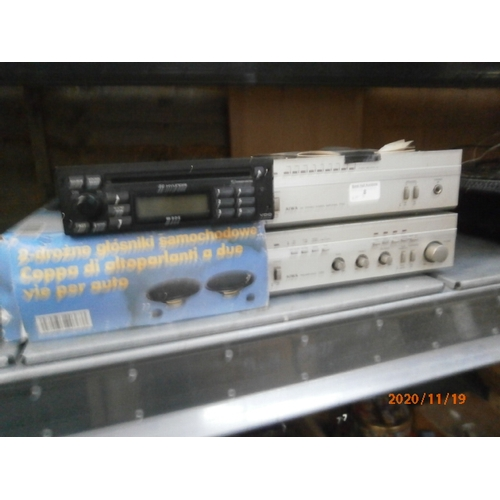 8 - Lot inc Aiwa stereo power amplifier and preamplifier with boxed two way car speaker and car stereo p...