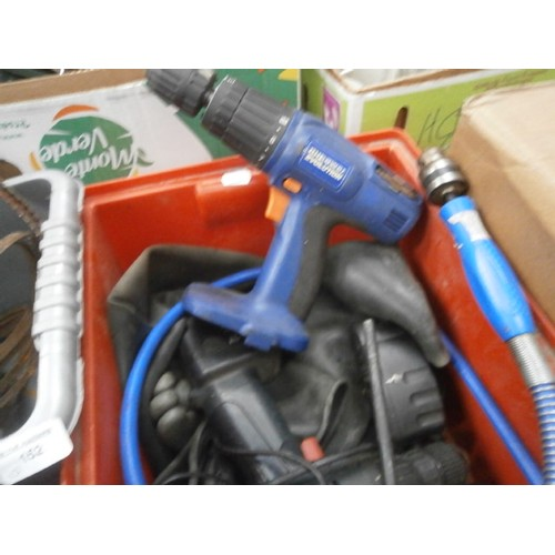 152 - Lot inc extension reel, cordless drills, etc...