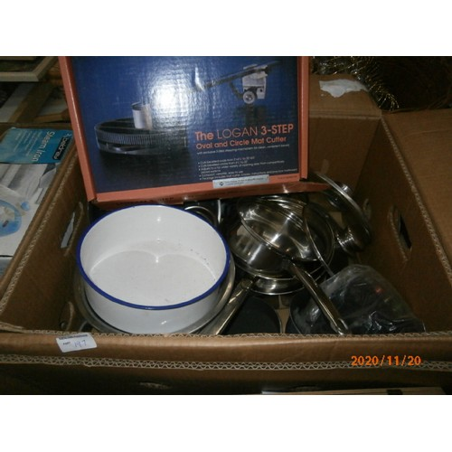 197 - Four boxes inc irons, shire horse figurine, mat cutter, pots and pans, etc...
