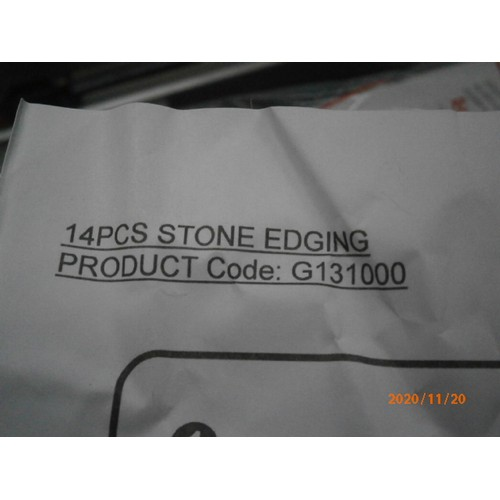 22 - Three boxes of plastic stone edging, 14 per box...