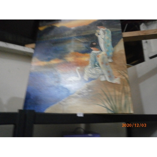 59 - Oriental canvas picture...