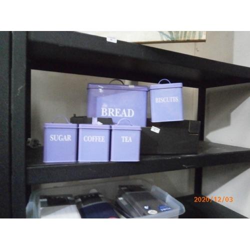 60 - Purple kitchen set inc bread bin etc...