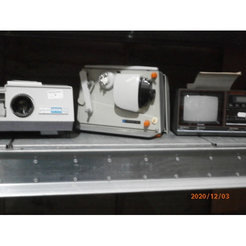8 - Gnome supreme slide projector, Pentax P80-1 Cine projector and a Sunagor portable 5 inch mono TV wit...