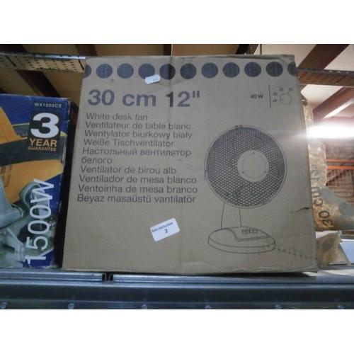 2 - 12 inch white desk fan as new in box...