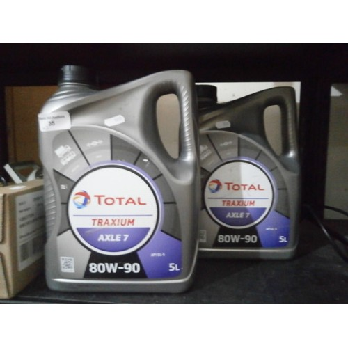35 - 2 5l tubs of 80W-90 axel oil...