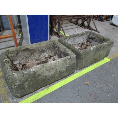 1005 - Pair concrete planters 23