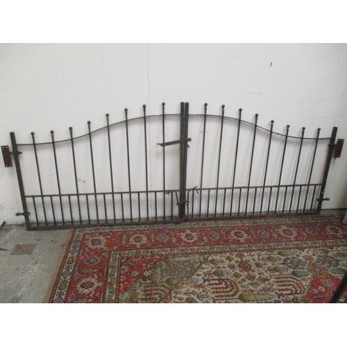 1034 - Pair wrought iron gates, 101 x 40 inches