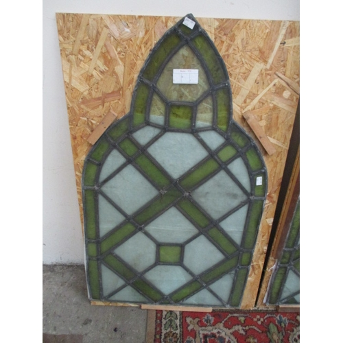 1035 - 4 stained glass panels as found Large panels 21 x 54 inches...