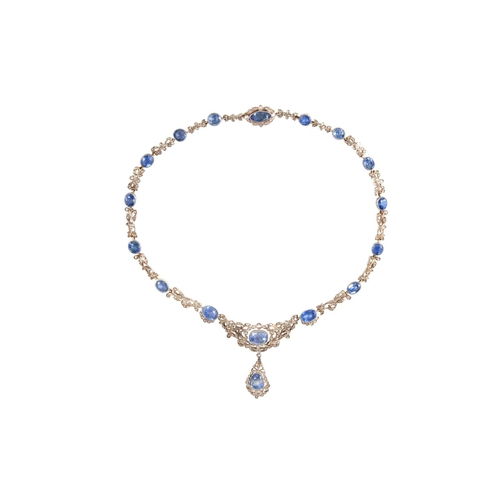 395 - A SAPPHIRE AND DIAMOND NECKLACE, with Burmese sapphires of approx. 45.00ct in total, rose cut diamon...