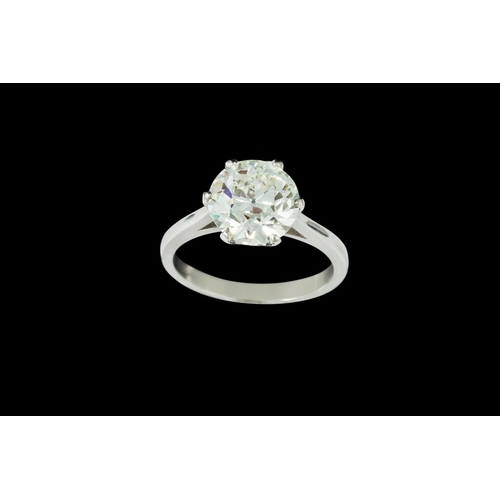 396 - A DIAMOND SOLITAIRE RING, one old European brilliant cut diamond of approx 3.39ct J/K VS2/SI1, mount...
