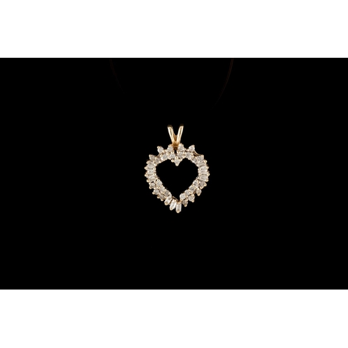 9 - A DIAMOND SET HEART PENDANT, mounted in 14ct gold...
