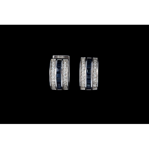 10 - A PAIR OF DIAMOND AND SAPPHIRE CIRCULAR EARRINGS, mounted in 18ct white gold...