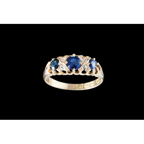 44 - AN ANTIQUE SAPPHIRE AND DIAMOND RING, mounted in 18ct gold, Chester 1903...